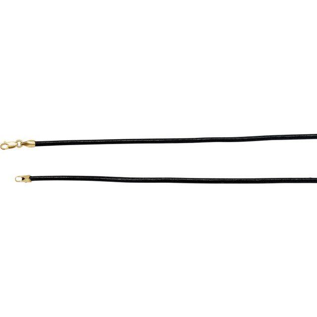 14K Yellow 2 mm Black Leather 16