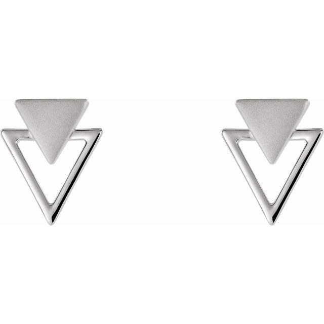 14K White Geometric Earrings
