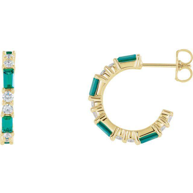 14K Yellow Lab-Grown Emerald & 1/2 CTW Diamond Earrings