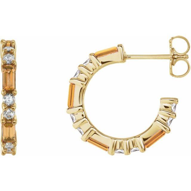 14K Yellow Citrine & 1/2 CTW Diamond Earrings