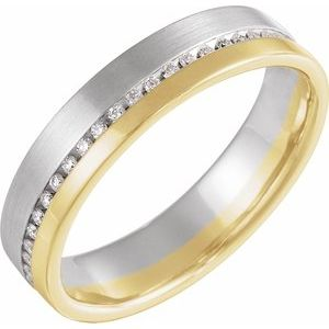 14K White/Yellow 1/3 CTW Diamond 6mm Band Size 7
