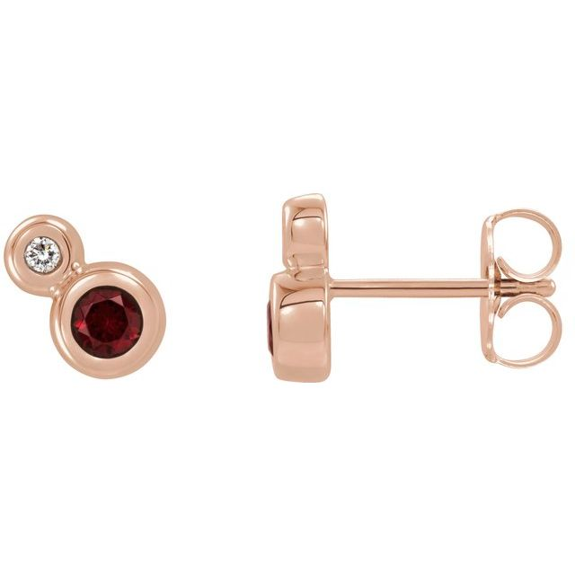 14K Rose Mozambique Garnet & .03 CTW Diamond Earrings