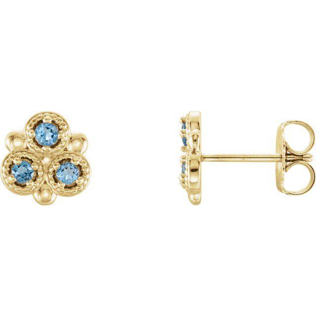 14K Yellow Aquamarine Three-Stone Earrings