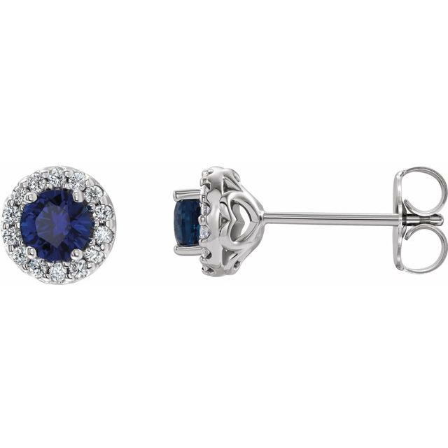 14K White Chatham® Lab-Created Blue Sapphire & 1/4 Diamond Earrings