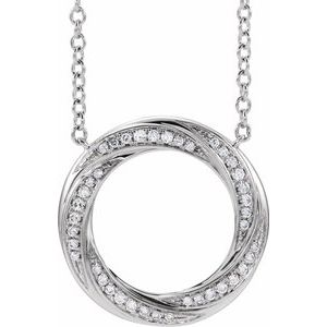 "14K White 1/5 CTW Diamond Circle 16-18"" Necklace"