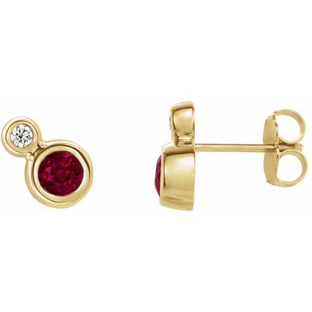 14K Yellow Ruby & .03 CTW Diamond Earrings