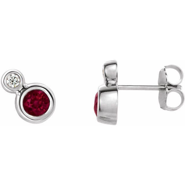 Sterling Silver 3 mm Lab-Grown Ruby & .03 CTW Natrual Diamond Earrings