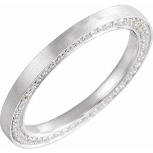14K White 2 mm 1/2 CTW Diamond Band with Satin Finish Size 7