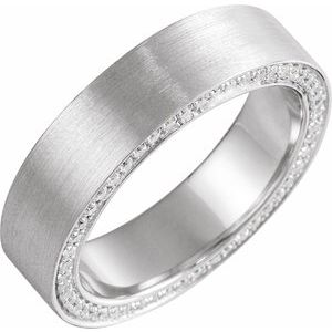 14K White 6 mm 3/4 CTW Black Diamond Band with Satin Finish Size 10