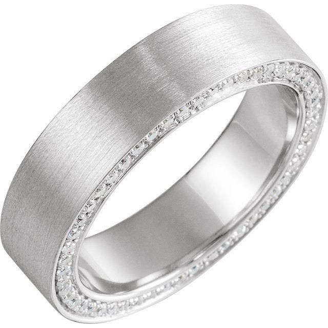 14K White 6 mm 3/4 CTW Black Diamond Band with Satin Finish Size 10