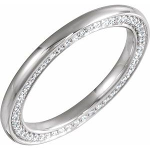 14K White 2 mm 1/2 CTW Diamond Band Size 7