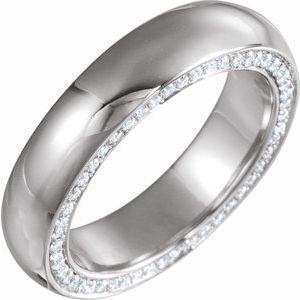 14K White 6 mm 3/4 CTW Diamond Band Size 10