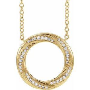 "14K Yellow 1/5 CTW Diamond Circle 16-18"" Necklace"