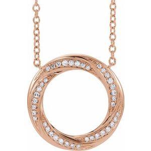 "14K Rose 1/5 CTW Diamond Circle 16-18"" Necklace"