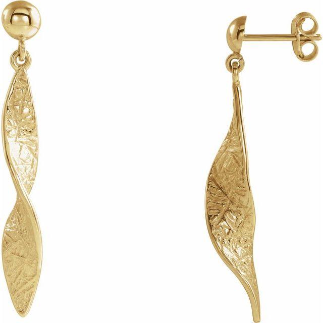 14K Yellow Twisted Dangle Earrings