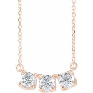 "14K Rose 1 CTW Diamond Three-Stone Curved Bar 16"" Necklace"