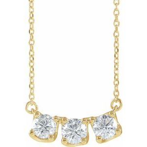 "14K Yellow 1 CTW Lab-Grown Diamond Three-Stone Curved Bar 16-18"" Necklace"