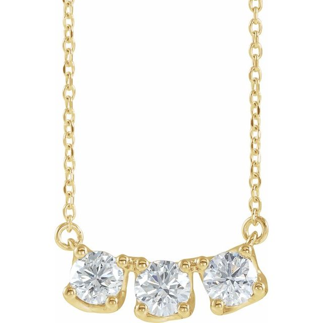 14K Yellow 1 CTW Lab-Grown Diamond Three-Stone Curved Bar 16-18