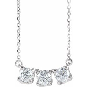 "14K White 1 CTW Lab-Grown Diamond Three-Stone Curved Bar 16-18"" Necklace"