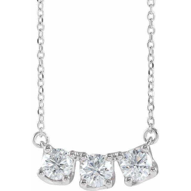 14K White 1 CTW Diamond Three-Stone Curved Bar 18