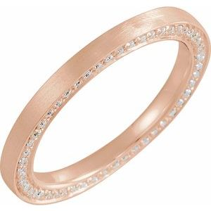 14K Rose 2 mm 1/2 CTW Diamond Band with Satin Finish Size 7