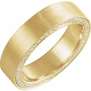 14K Yellow 6 mm 5/8 CTW Diamond Band with Satin Finish Size 9.5