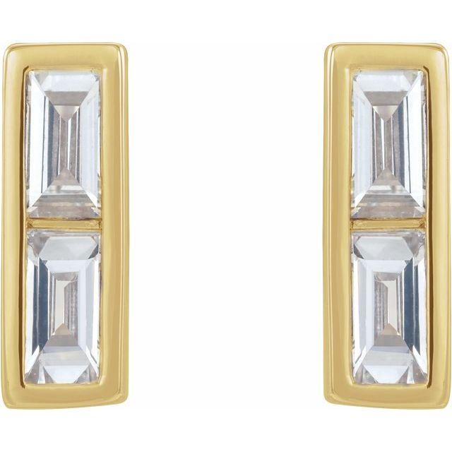 14K Yellow 1/4 CTW Diamond Bar Earrings