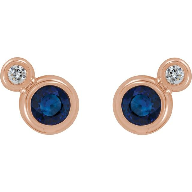 14K Rose Blue Sapphire & .03 CTW Diamond Earrings