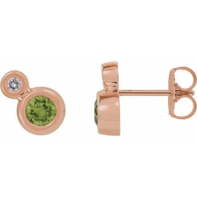 14K Rose Peridot & .03 CTW Diamond Earrings