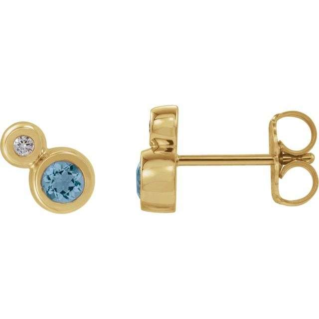 14K Yellow Aquamarine & .03 CTW Diamond Earrings