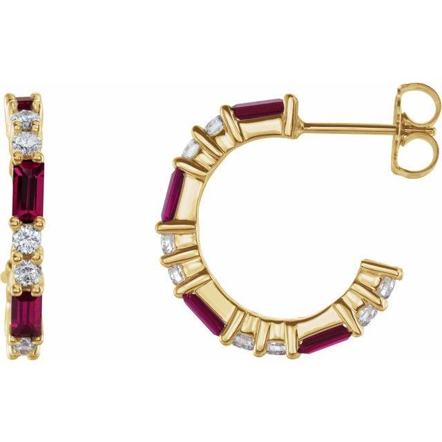 14K Yellow Lab-Grown Ruby & 1/2 CTW Diamond Earrings
