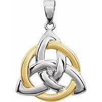 14K White & Yellow .004 CT Diamond Celtic-Inspired Trinity Pendant