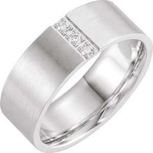 14K White 1/10 CTW Diamond Band with Satin Finish Size 10