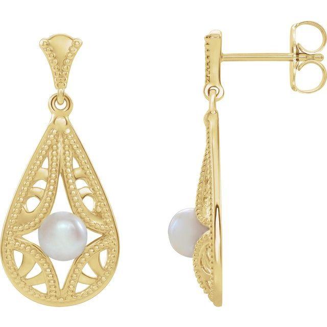 14K Yellow Freshwater Cultured Pearl Vintage-Inspired Earrings