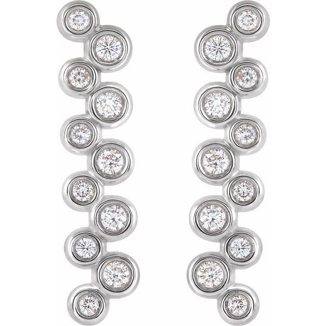 14K White 1/3 CTW Diamond Bezel-Set Bar Earrings