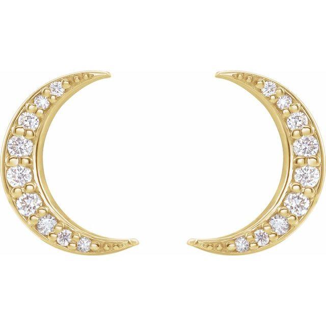 14K Yellow 1/10 CTW Diamond Crescent Moon Earrings