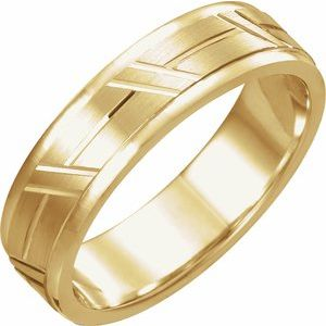 14K Yellow 6 mm Grooved Band Size 10