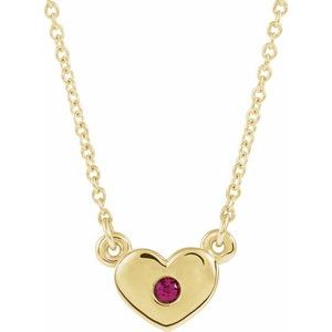 "14K Yellow Lab-Grown Ruby Heart 16"" Necklace"