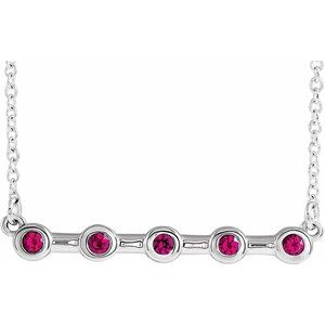 "14K White Ruby Bezel-Set Bar 16"" Necklace"