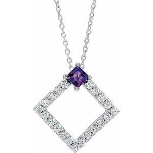 "14K White Amethyst & 3/8 CTW Diamond 16-18"" Necklace"