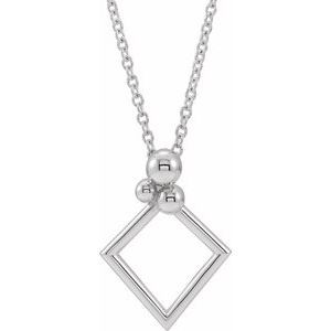 """Sterling Silver Geometric 16-18"""" Necklace"""