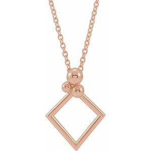 "14K Rose Geometric 16-18"" Necklace"