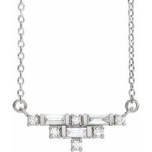 "14K White 1/4 CTW Diamond Art Deco 18"" Necklace"
