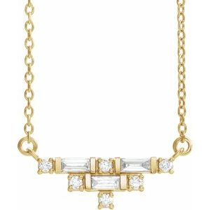 "14K Yellow 1/4 CTW Diamond Art Deco 16"" Necklace"