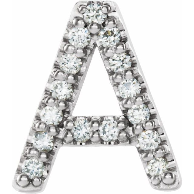 Sterling Silver .06 CTW Diamond Initial A Earring