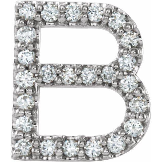 Sterling Silver 1/10 CTW Diamond Single Initial B Earring