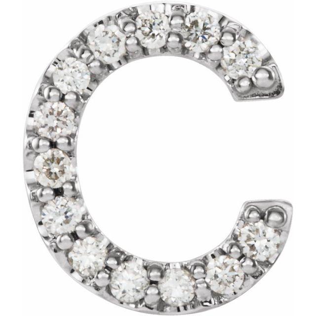 14K White .05 CTW Diamond Single Initial C Earring