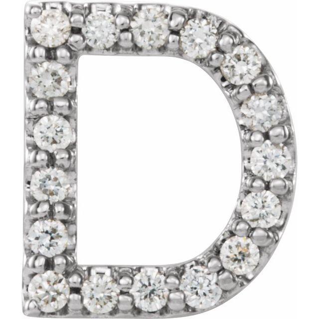 14K White .06 CTW Diamond Single Initial D Earring