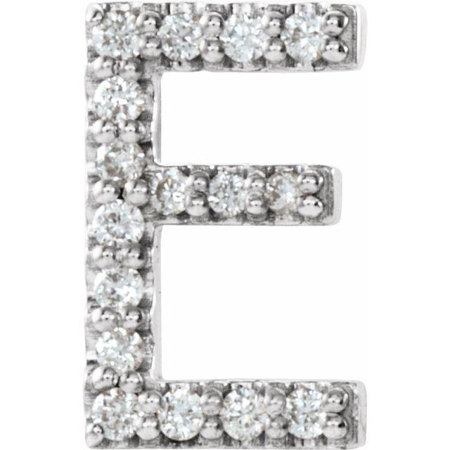 14K White .06 CTW Diamond Single Initial E Earring