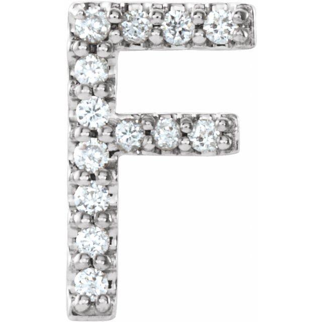 14K White .05 CTW Diamond Single Initial F Earring